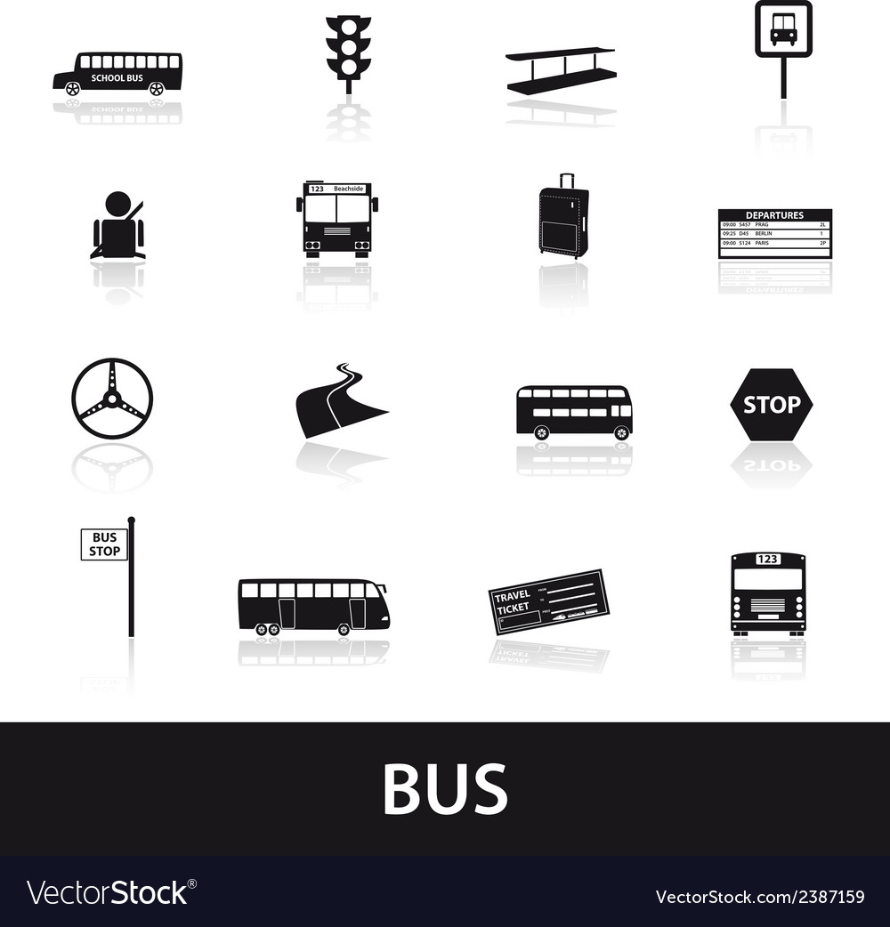 Bus transport icons set eps10 vector | Price: 1 Credit (USD $1)