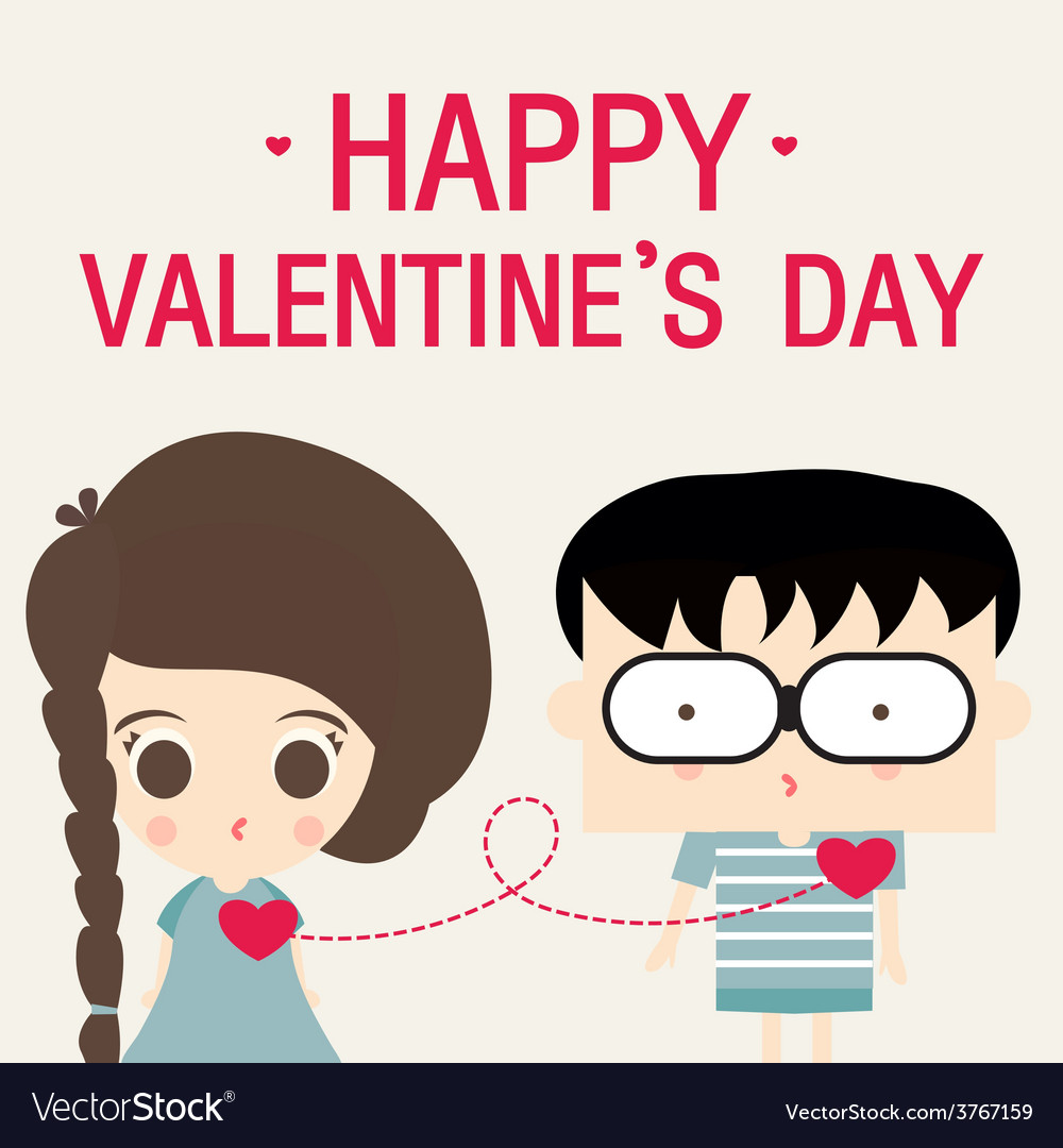 Cartoon happy valentine love link vector | Price: 1 Credit (USD $1)