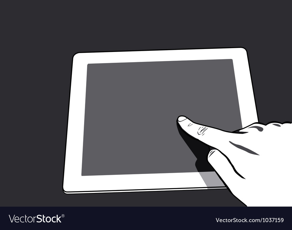 Close up view hands touching screen vector | Price: 1 Credit (USD $1)