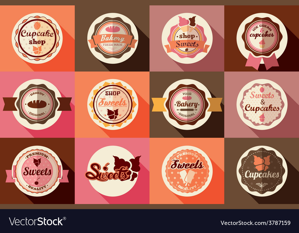 Collection of vintage ice cream and cupcake labels vector | Price: 1 Credit (USD $1)