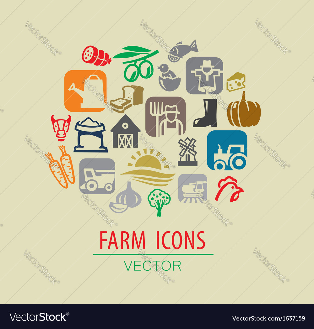 Farm icon set vector | Price: 1 Credit (USD $1)