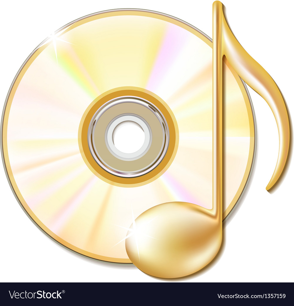 Gold musical note and cd disk vector | Price: 1 Credit (USD $1)