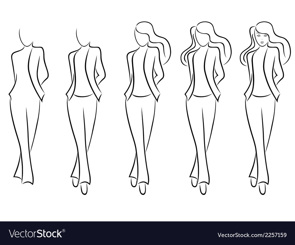 Sequence of drawing a beautiful female contour vector | Price: 1 Credit (USD $1)