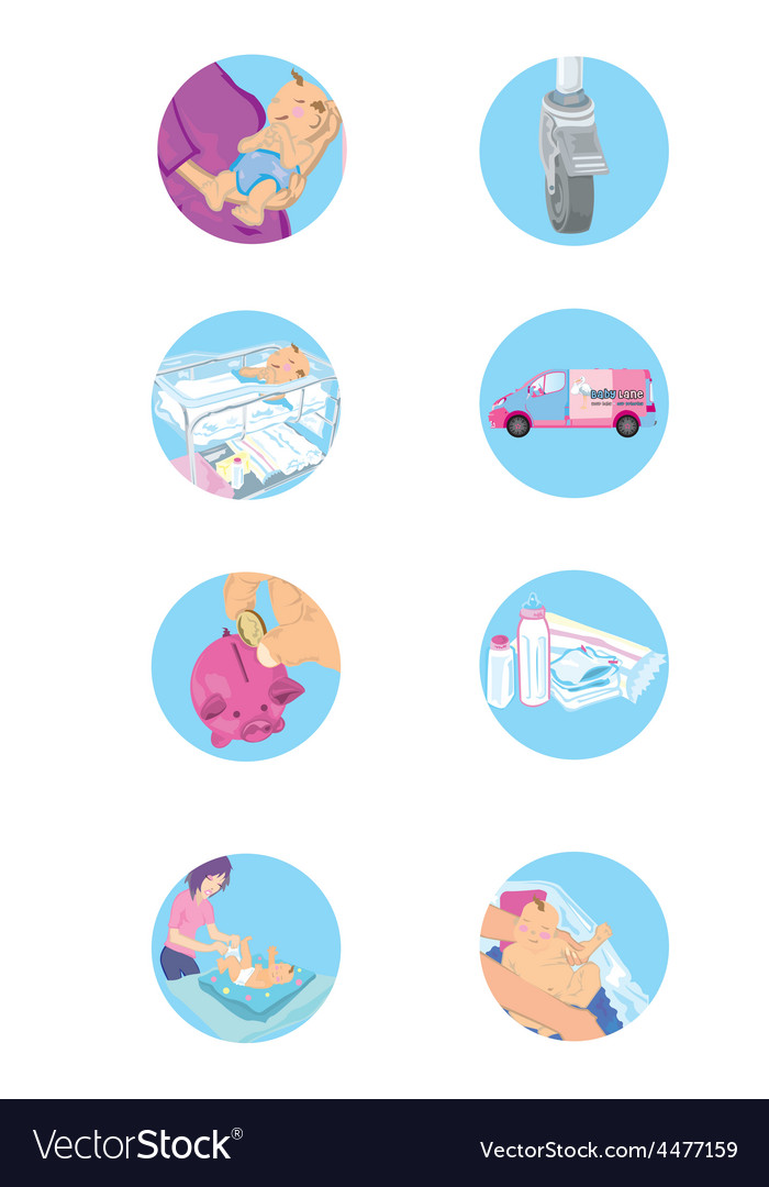Set of baby and family icons vector | Price: 1 Credit (USD $1)