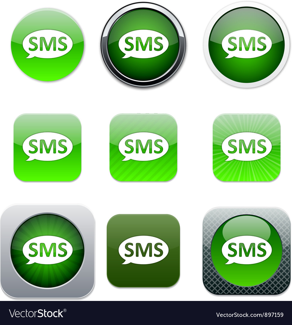 Sms green app icons vector | Price: 1 Credit (USD $1)
