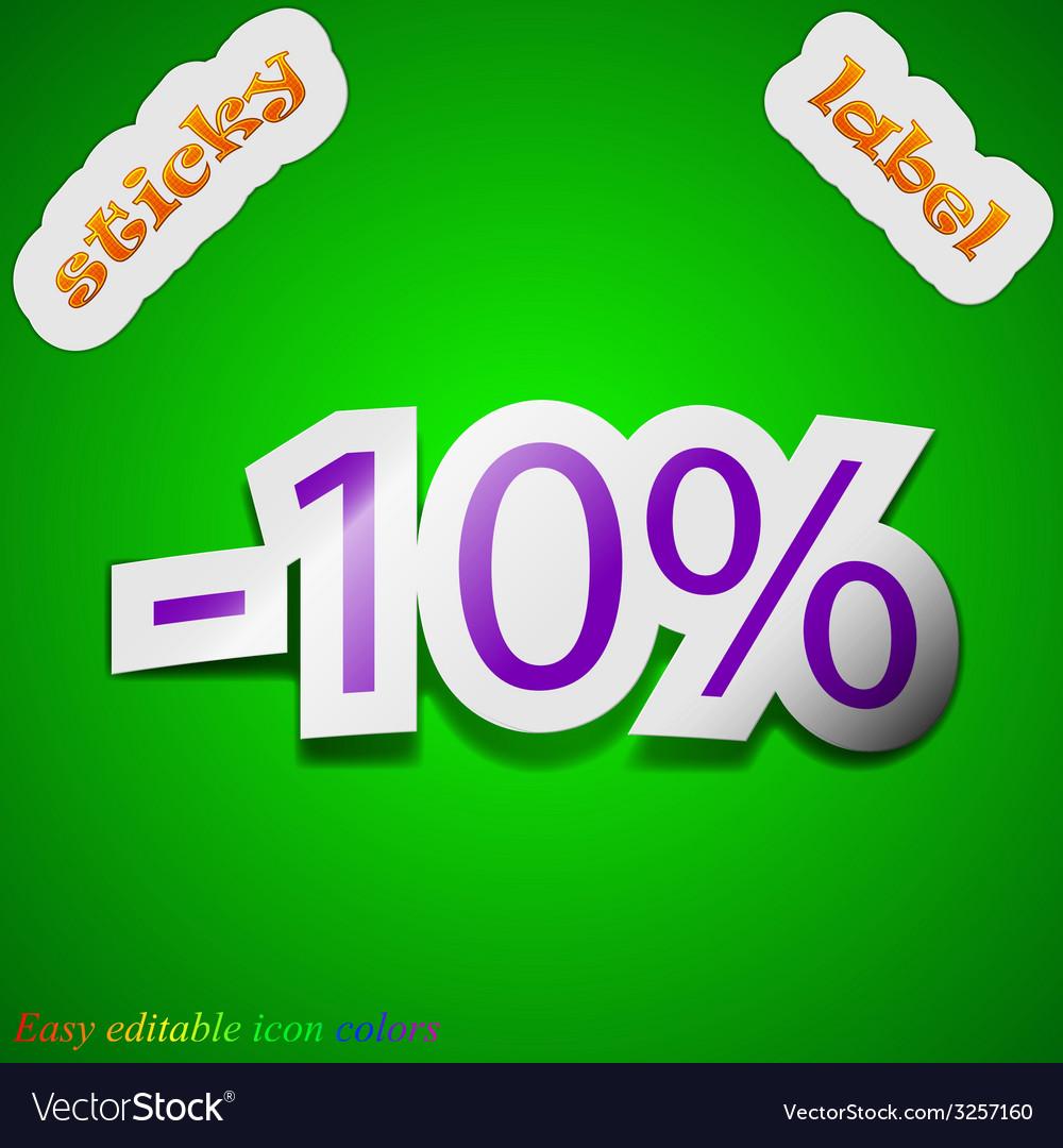 10 percent discount icon sign symbol chic colored vector | Price: 1 Credit (USD $1)