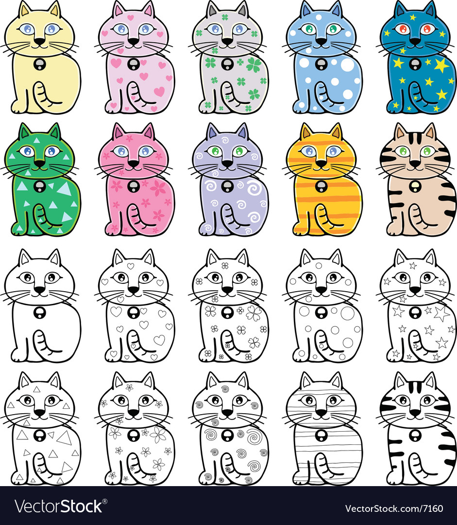 A cute cat cartoon illustration vector | Price: 3 Credit (USD $3)