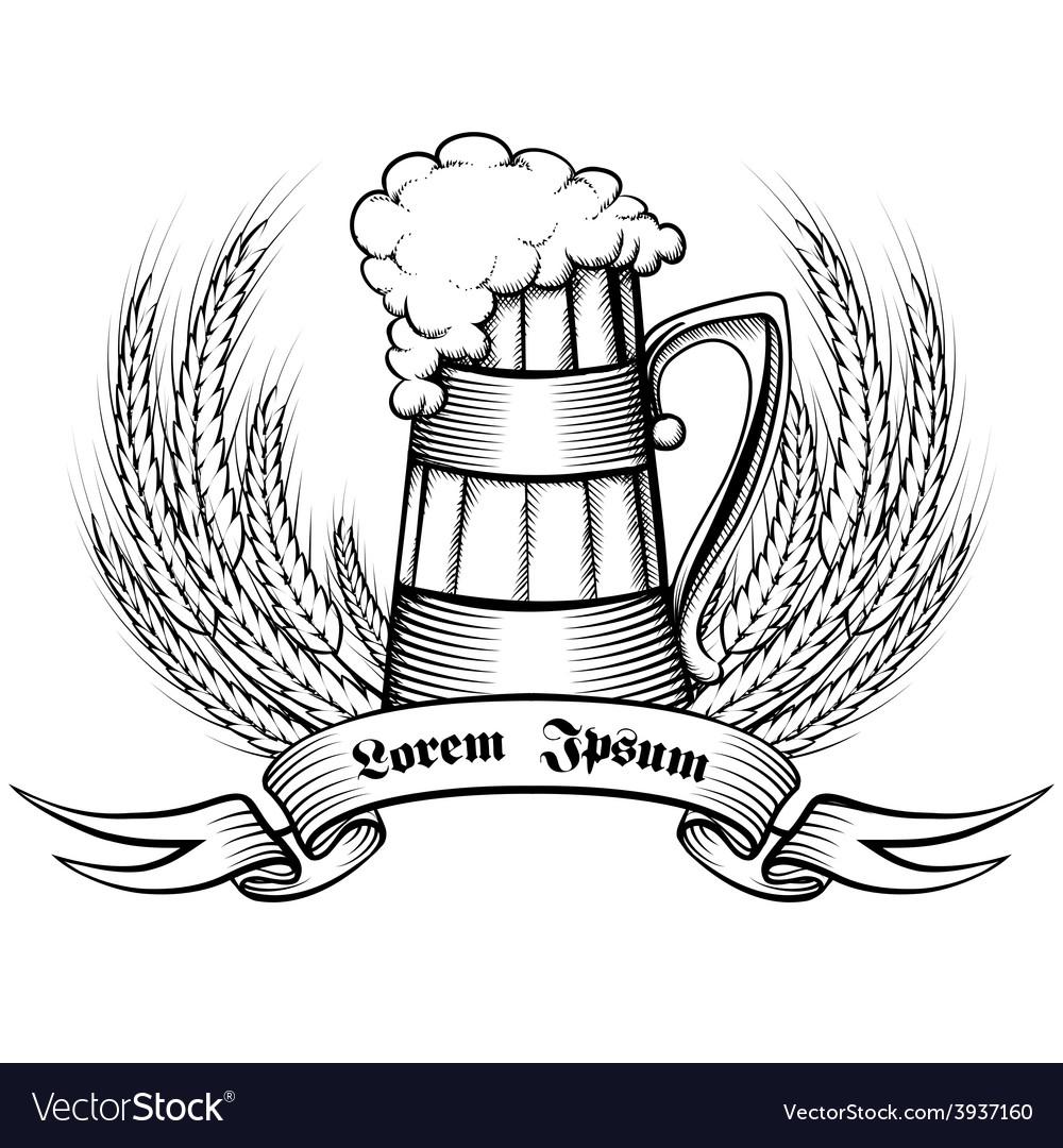 Beer retro emblem vector | Price: 1 Credit (USD $1)
