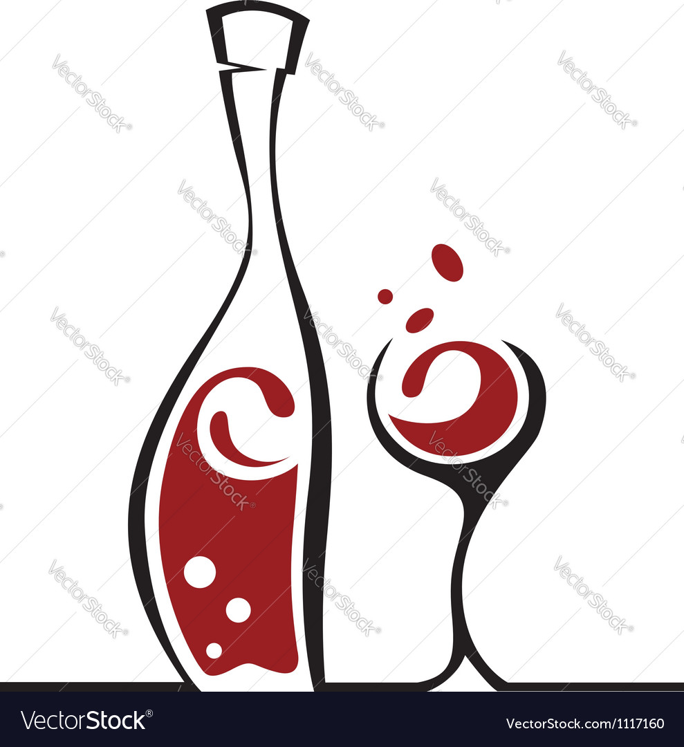 Bottle and glass vector | Price: 1 Credit (USD $1)