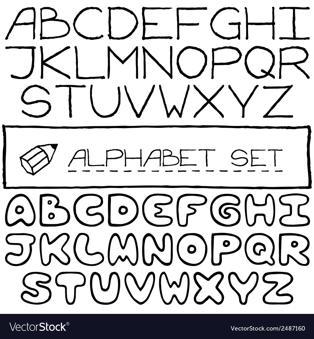 Doodle letters set of two full alphabets vector | Price: 1 Credit (USD $1)