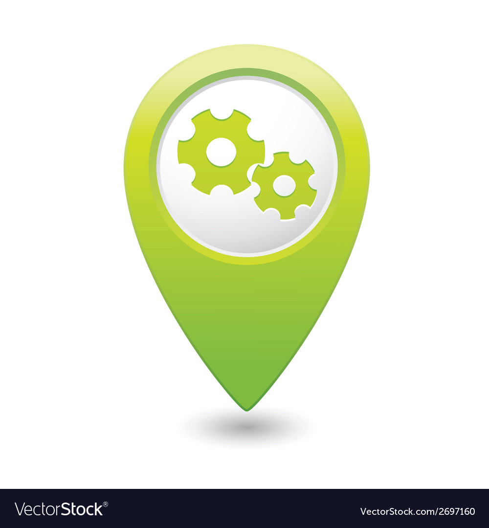 Gear icon green map pointer vector | Price: 1 Credit (USD $1)