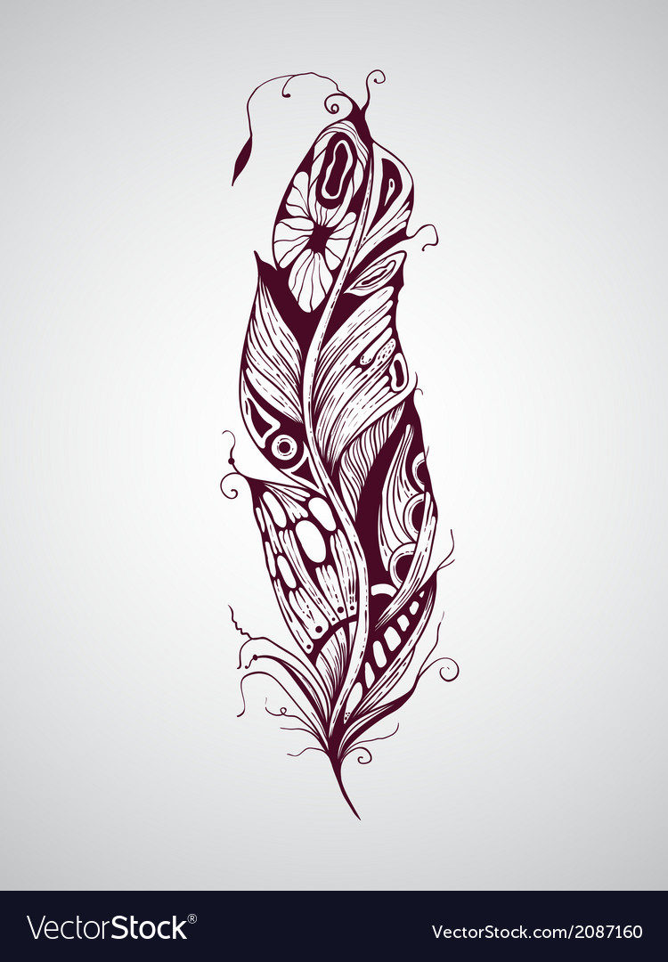 Highly detailed hand drawn tattoo feather vector | Price: 1 Credit (USD $1)
