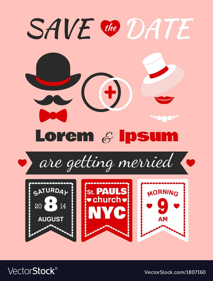 Hipster wedding invitation card vector | Price: 1 Credit (USD $1)
