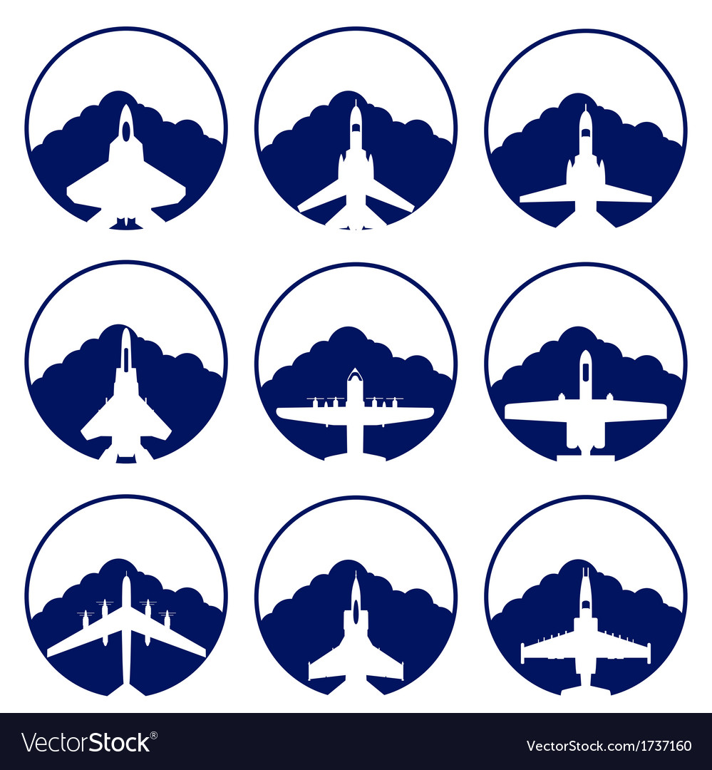 The icons of military aviation vector | Price: 1 Credit (USD $1)