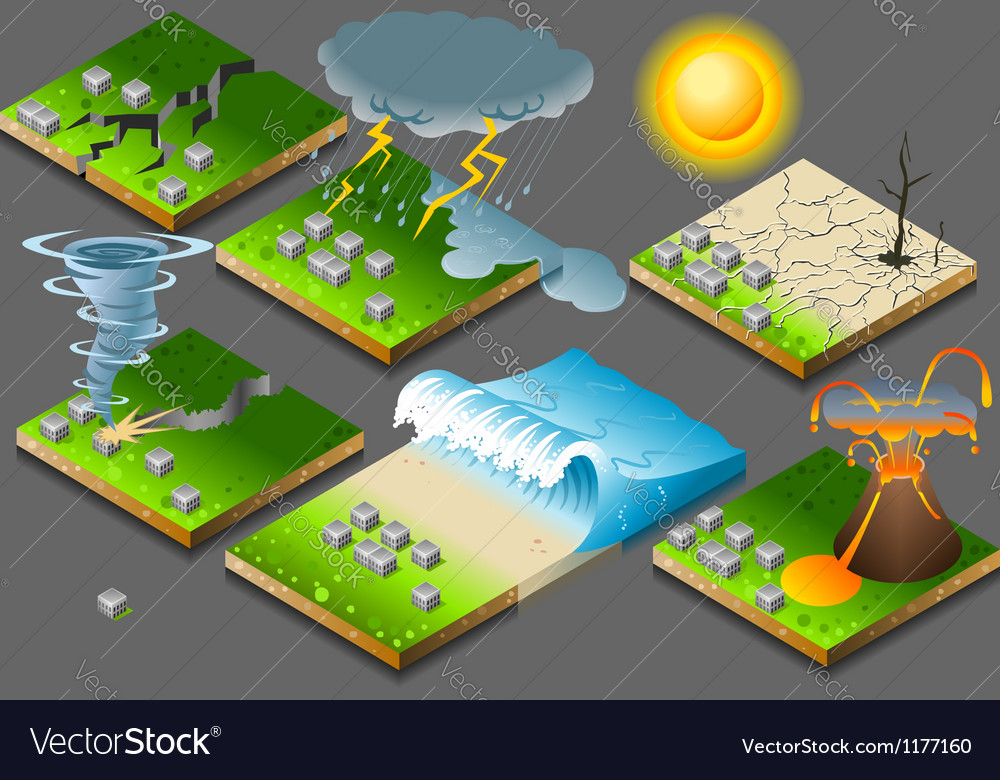 Isometric natural disasters on button flag vector | Price: 3 Credit (USD $3)
