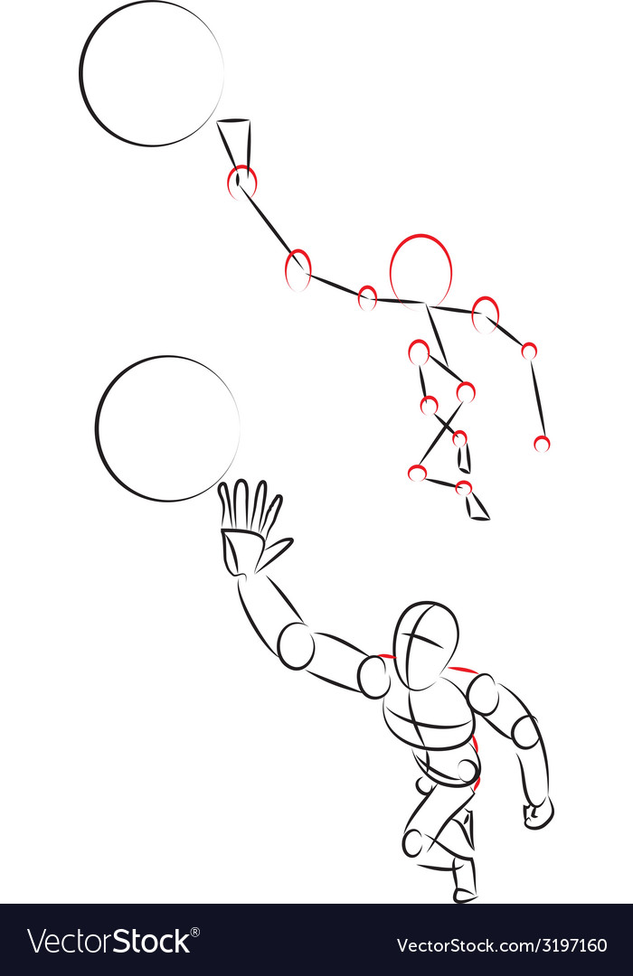Man playing with a ball vector | Price: 1 Credit (USD $1)