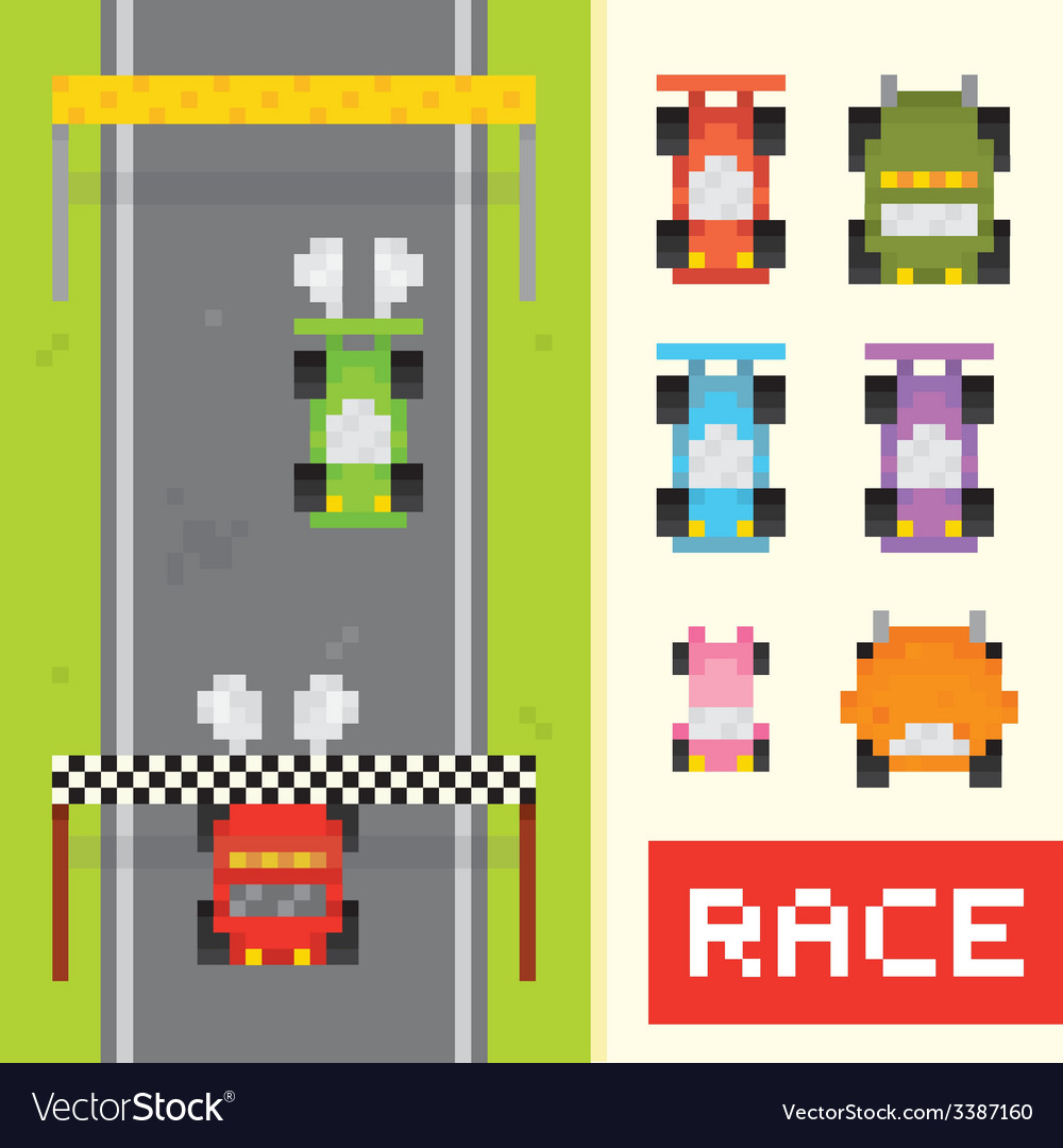 Race game objects in pixel art style vector | Price: 1 Credit (USD $1)
