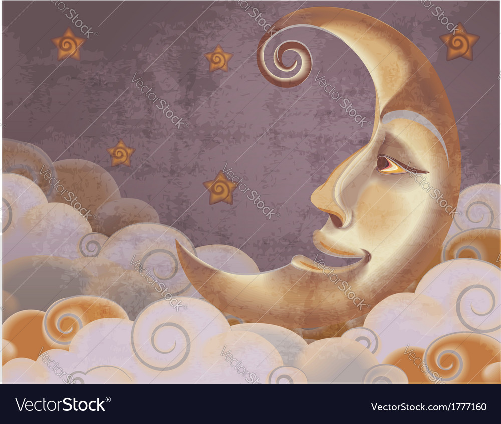 Retro style half moon clouds and stars vector   Price: 1 Credit (USD $1)