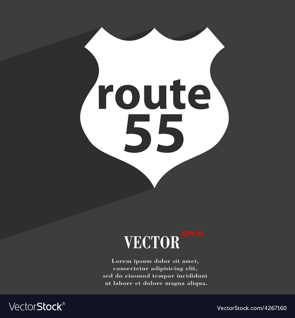Route 55 highway icon symbol flat modern web vector | Price: 1 Credit (USD $1)