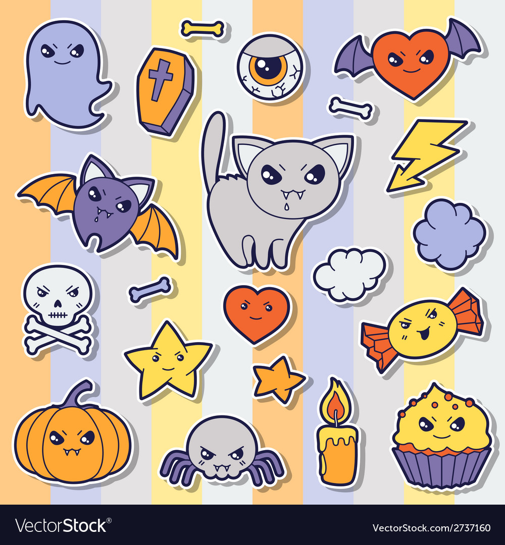 Set of halloween kawaii cute sticker doodles and vector | Price: 1 Credit (USD $1)