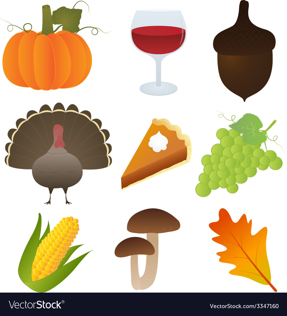 Set of thanksgiving icons vector | Price: 1 Credit (USD $1)