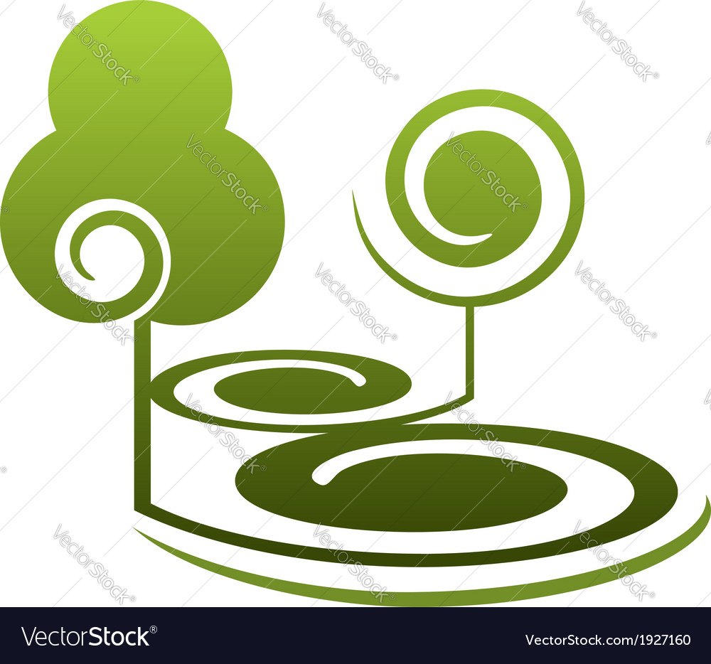 Stylized green trees in summer landscape vector | Price: 1 Credit (USD $1)