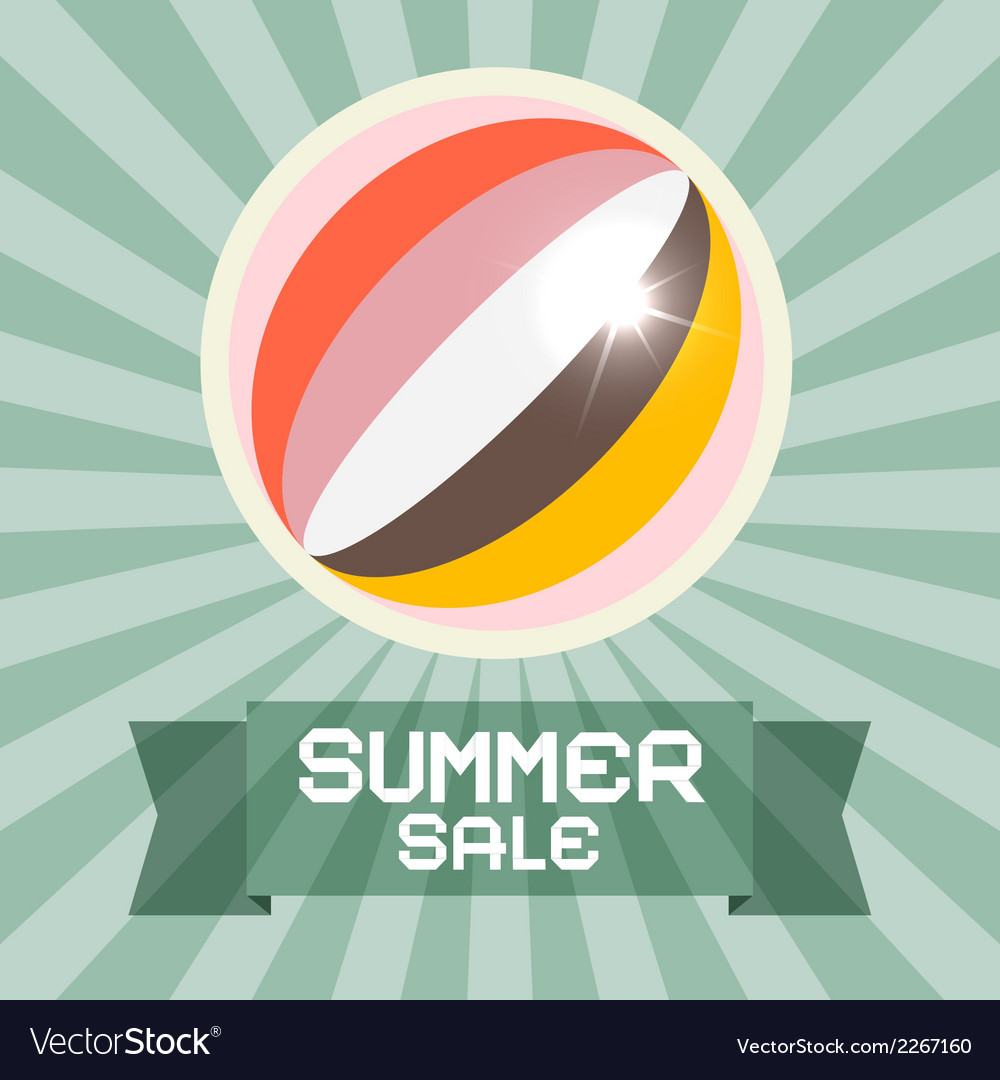 Summer sale retro title with ball vector | Price: 1 Credit (USD $1)
