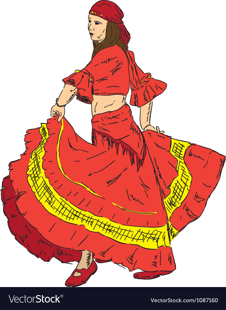 Woman flamenco dancer vector