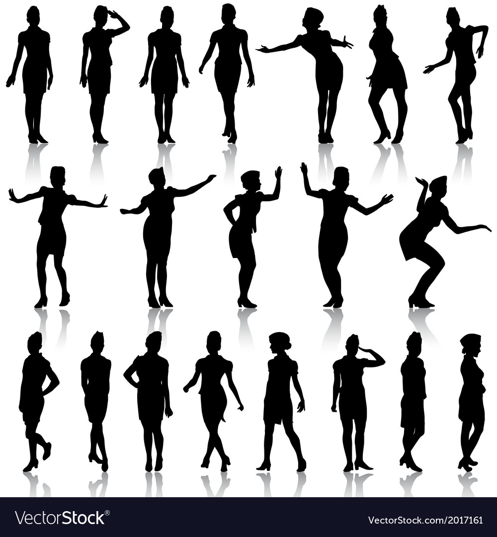 Black silhouettes of beautiful girls in stewardess vector | Price: 1 Credit (USD $1)