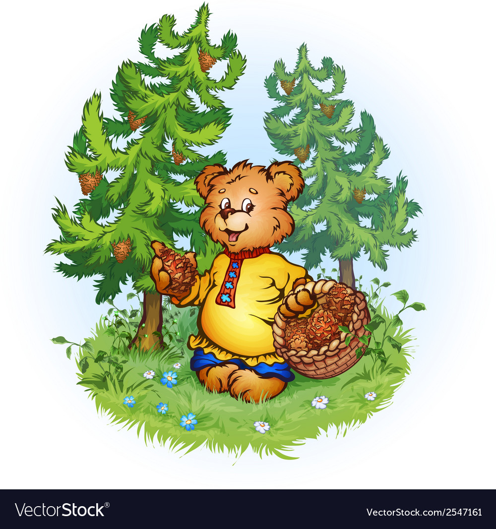 Bruin bear with pine cones vector | Price: 3 Credit (USD $3)
