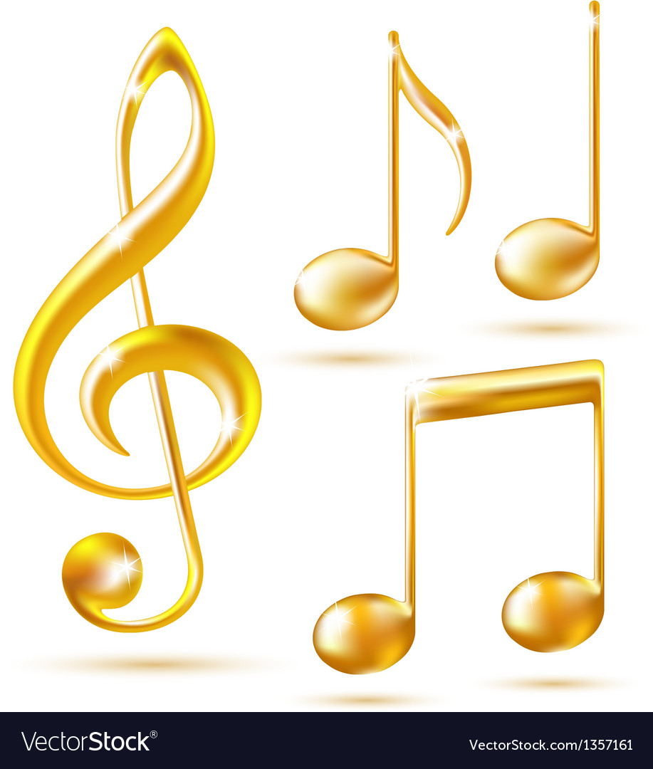 Gold icons of a treble clef and music notes vector | Price: 1 Credit (USD $1)
