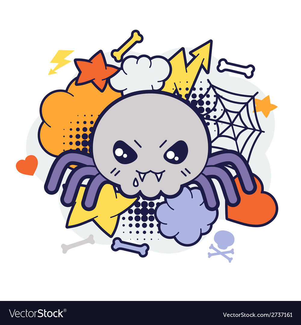 Halloween kawaii print or card with cute doodle vector | Price: 1 Credit (USD $1)