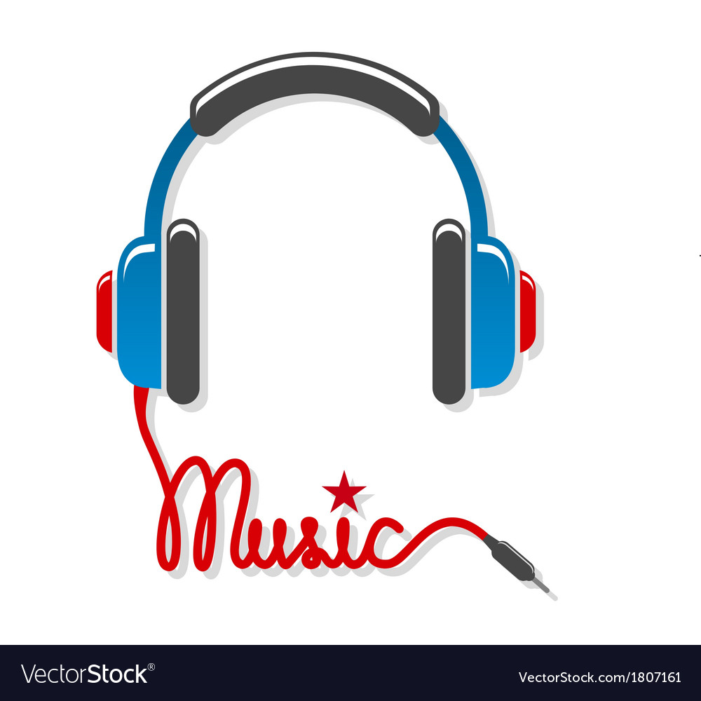 Headphones with cord and word music vector | Price: 1 Credit (USD $1)