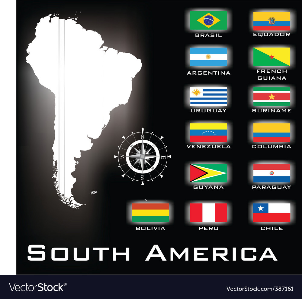 South america flags vector | Price: 1 Credit (USD $1)