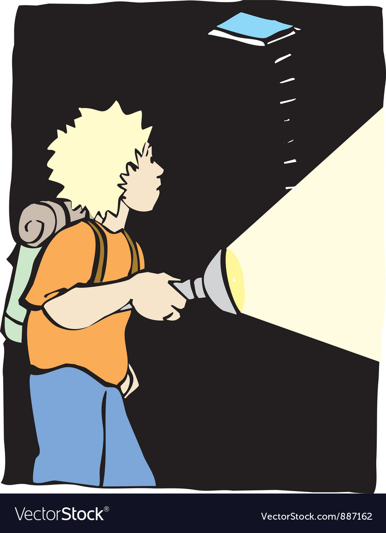 A boy with a flash light vector | Price: 1 Credit (USD $1)