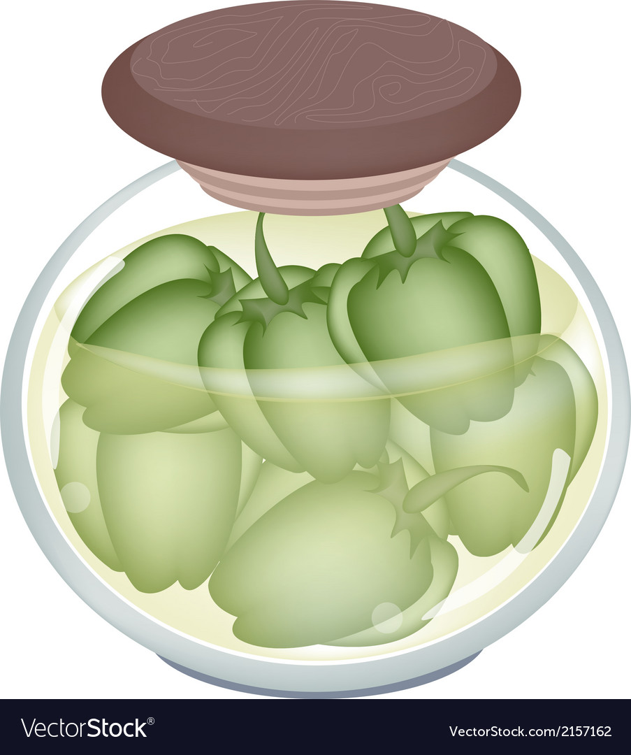 A jar of pickled green bell peppers vector | Price: 1 Credit (USD $1)