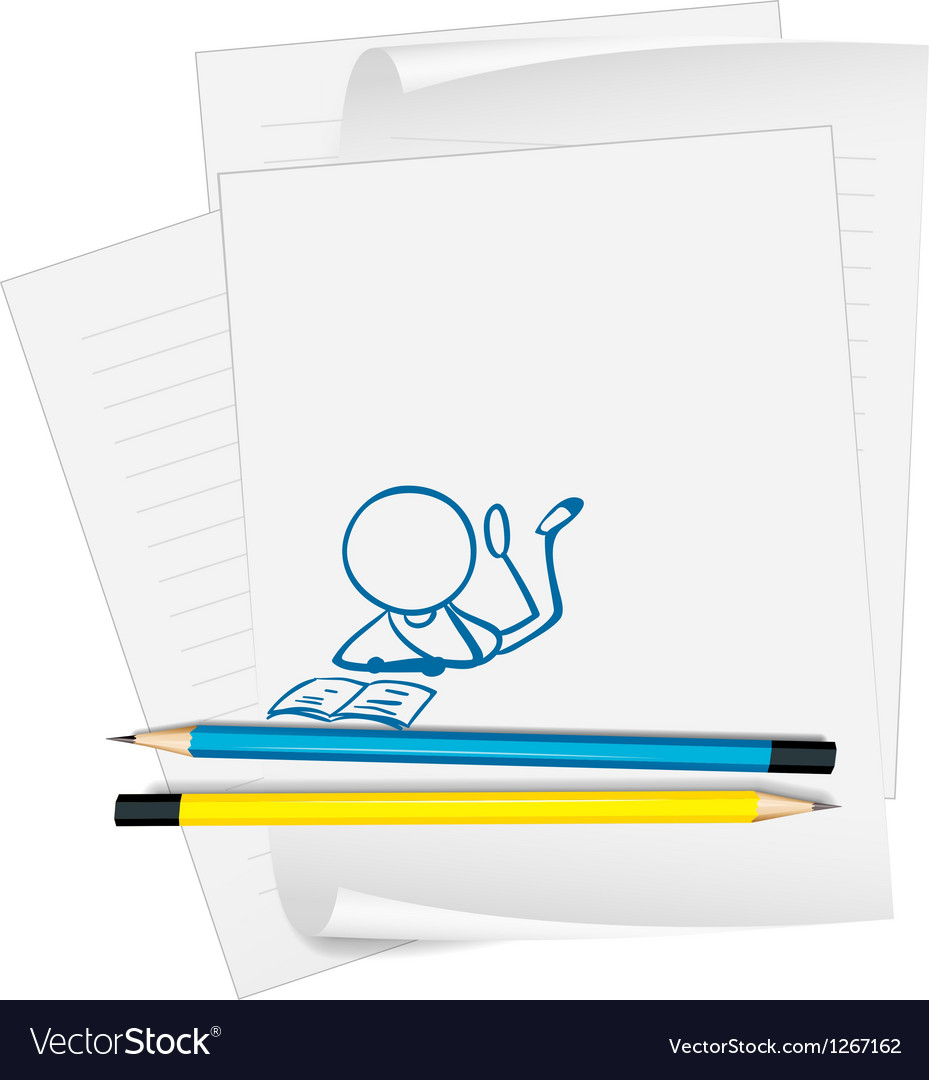A paper with a sketch of a person reading vector | Price: 1 Credit (USD $1)