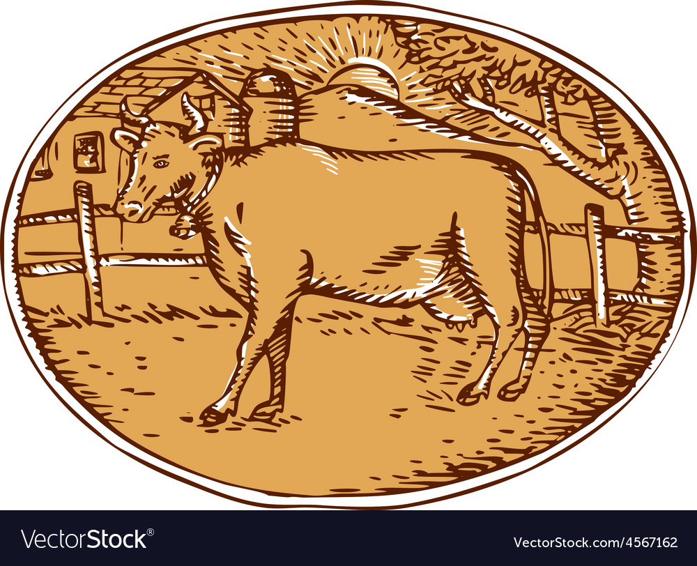 Cow ranch farm house oval woodcut vector | Price: 1 Credit (USD $1)