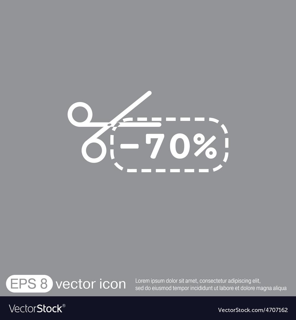 Discount coupon with scissors symbol icon vector | Price: 1 Credit (USD $1)