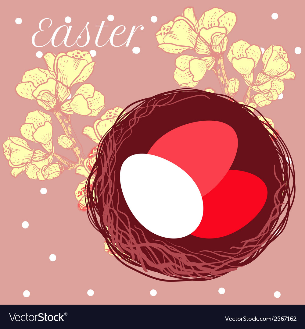 Easter eggs in nest vector | Price: 1 Credit (USD $1)