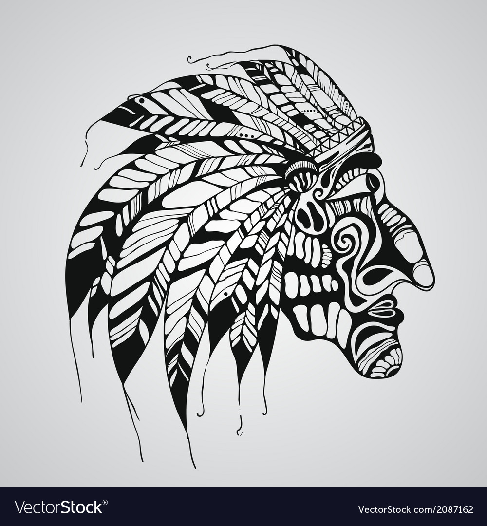 Hand drawn tattoo native american indian chief vector | Price: 1 Credit (USD $1)
