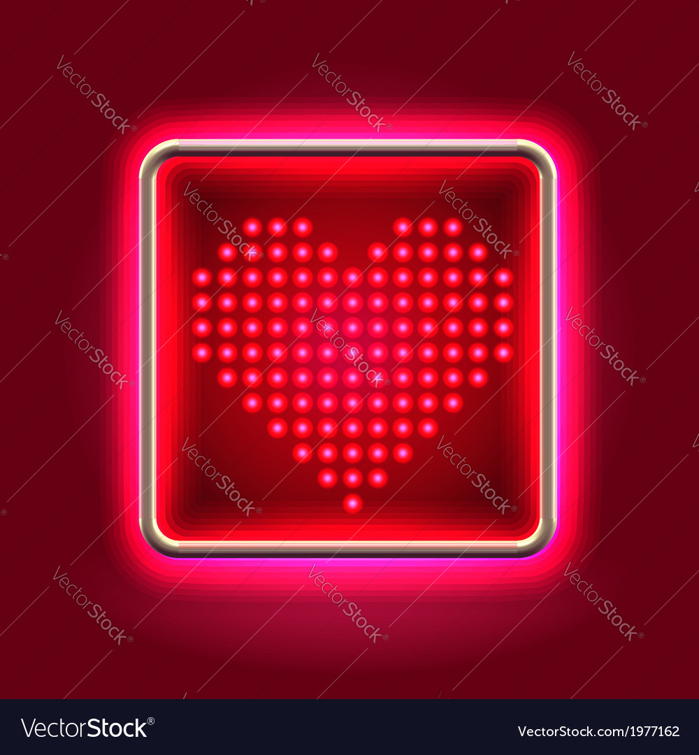 Heart glowing neon headboard vector | Price:  Credit (USD $)