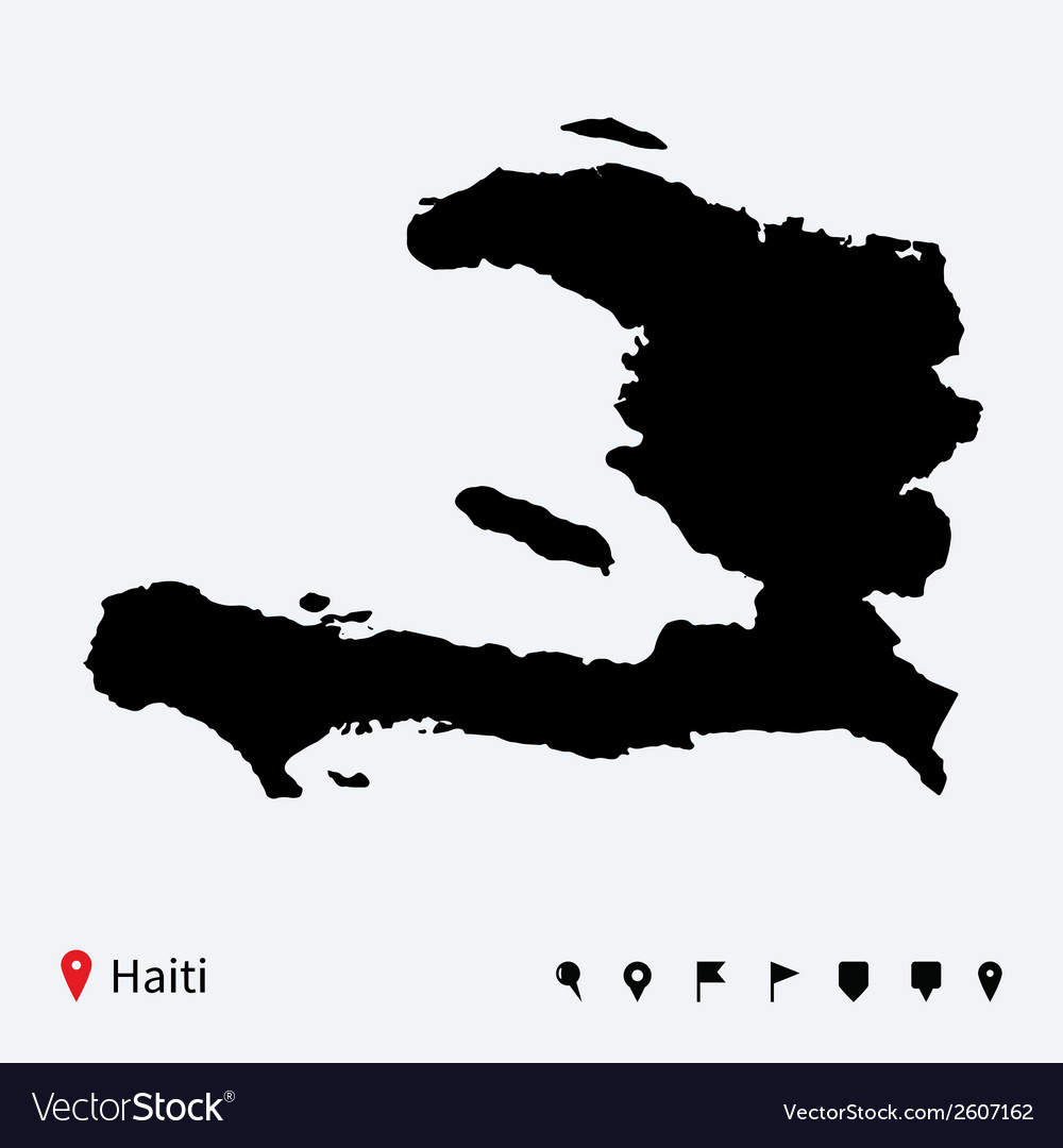 High detailed map of haiti with navigation pins vector | Price: 1 Credit (USD $1)