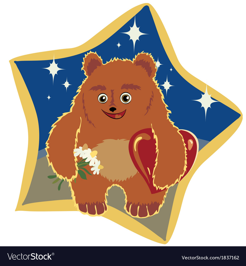 Light brown bear with flowers and hearts vector | Price: 1 Credit (USD $1)