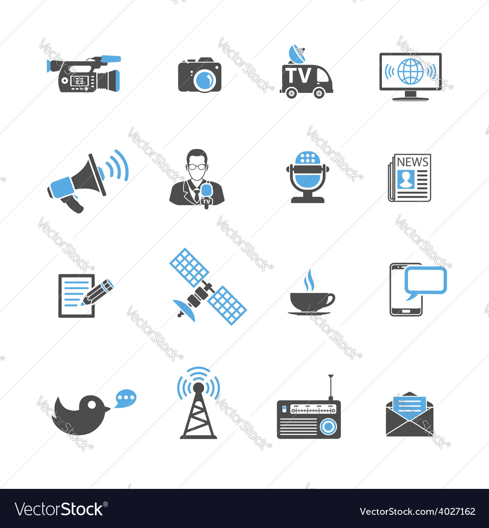 Media and news icons set vector | Price: 1 Credit (USD $1)