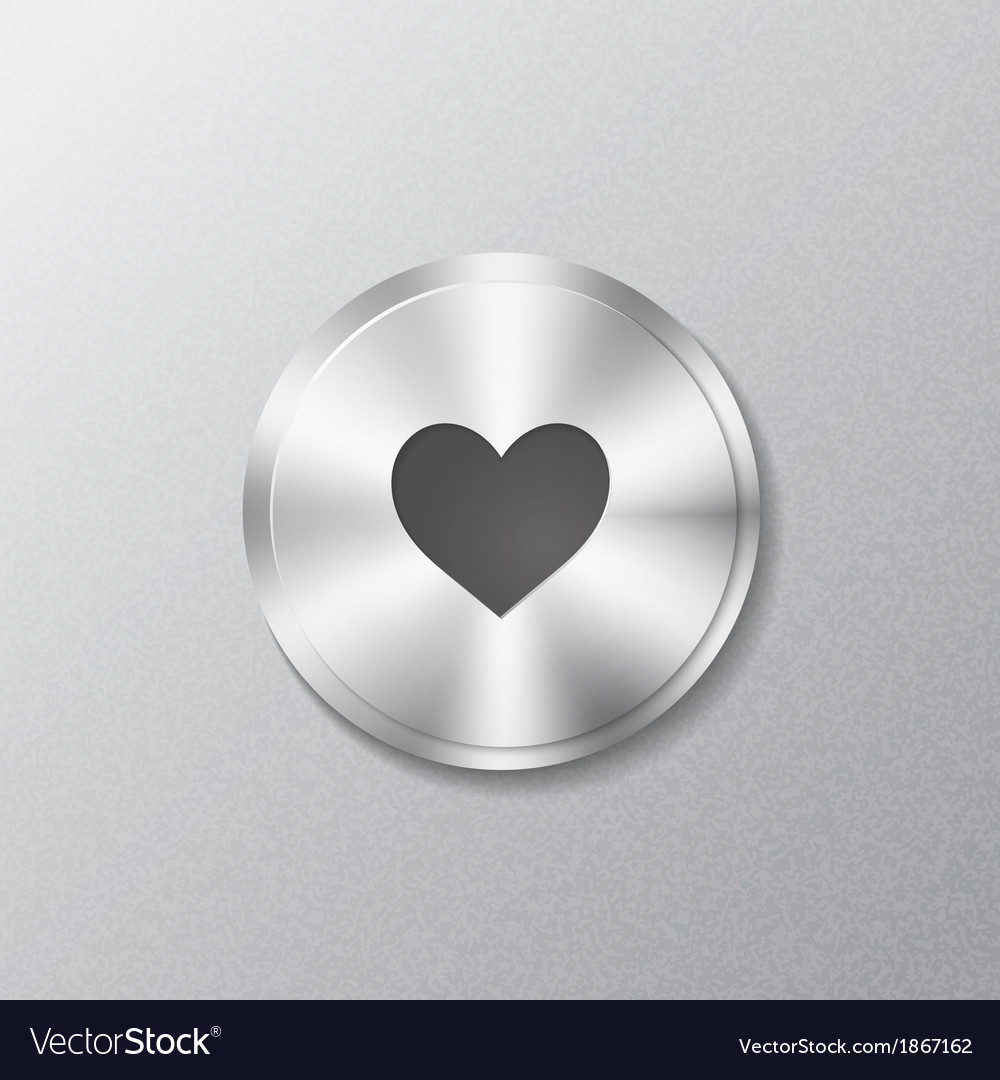 Metal round button with heart vector   Price: 1 Credit (USD $1)