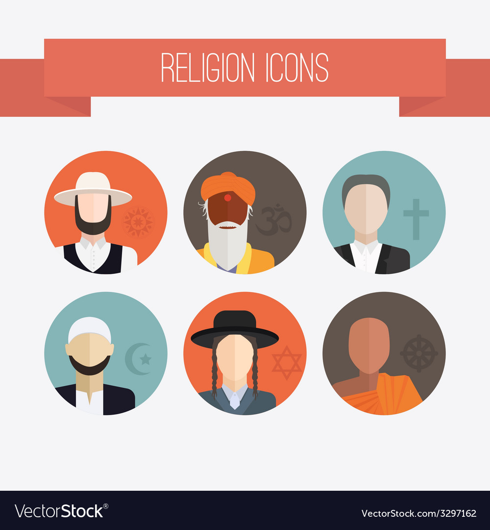 Religion people icons vector | Price: 1 Credit (USD $1)