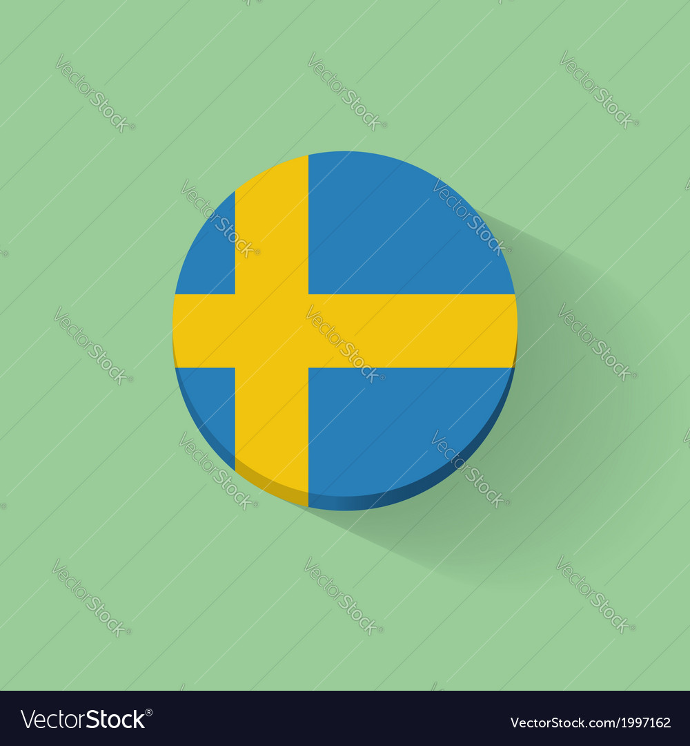 Round icon with flag of sweden vector | Price: 1 Credit (USD $1)