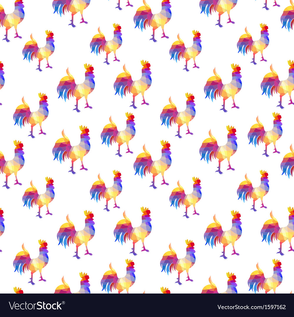 Seamless pattern with cocks in the geometric style vector | Price: 1 Credit (USD $1)