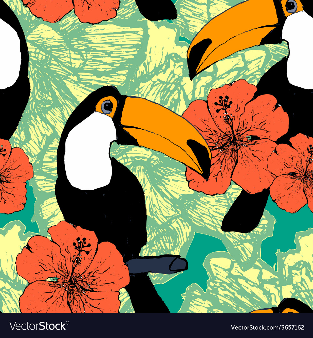 Seamless pattern with toucans vector | Price: 1 Credit (USD $1)